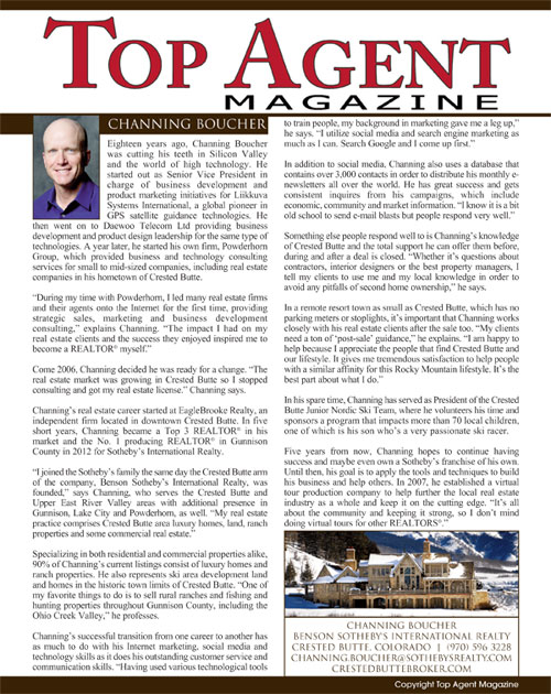 Top Agent Magazine Article on Channing Boucher