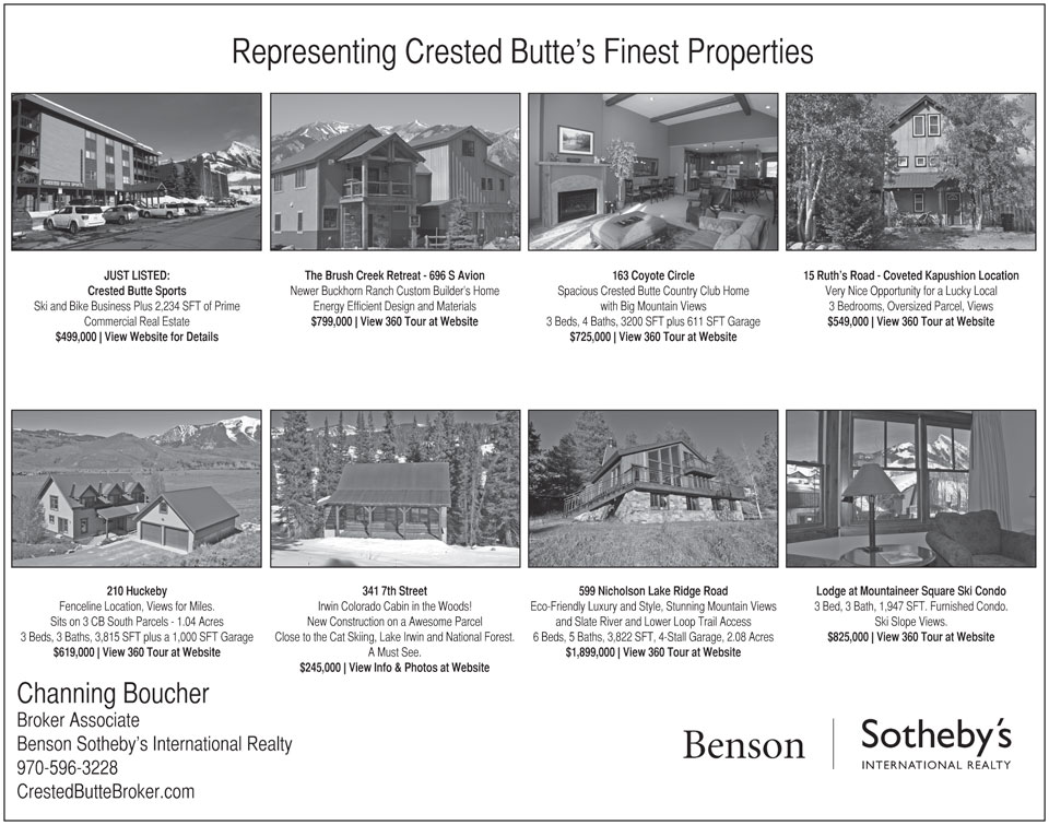 CRESTED BUTTE NEWS 1/2 PAGE REAL ESTATE ADVERTISEMENTS - MARCH 2013